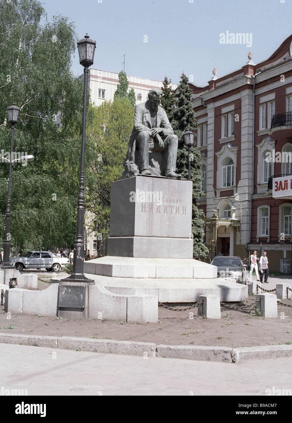 Monument to Russian poet Ivan Nikitin 1824 1861 - Stock Image