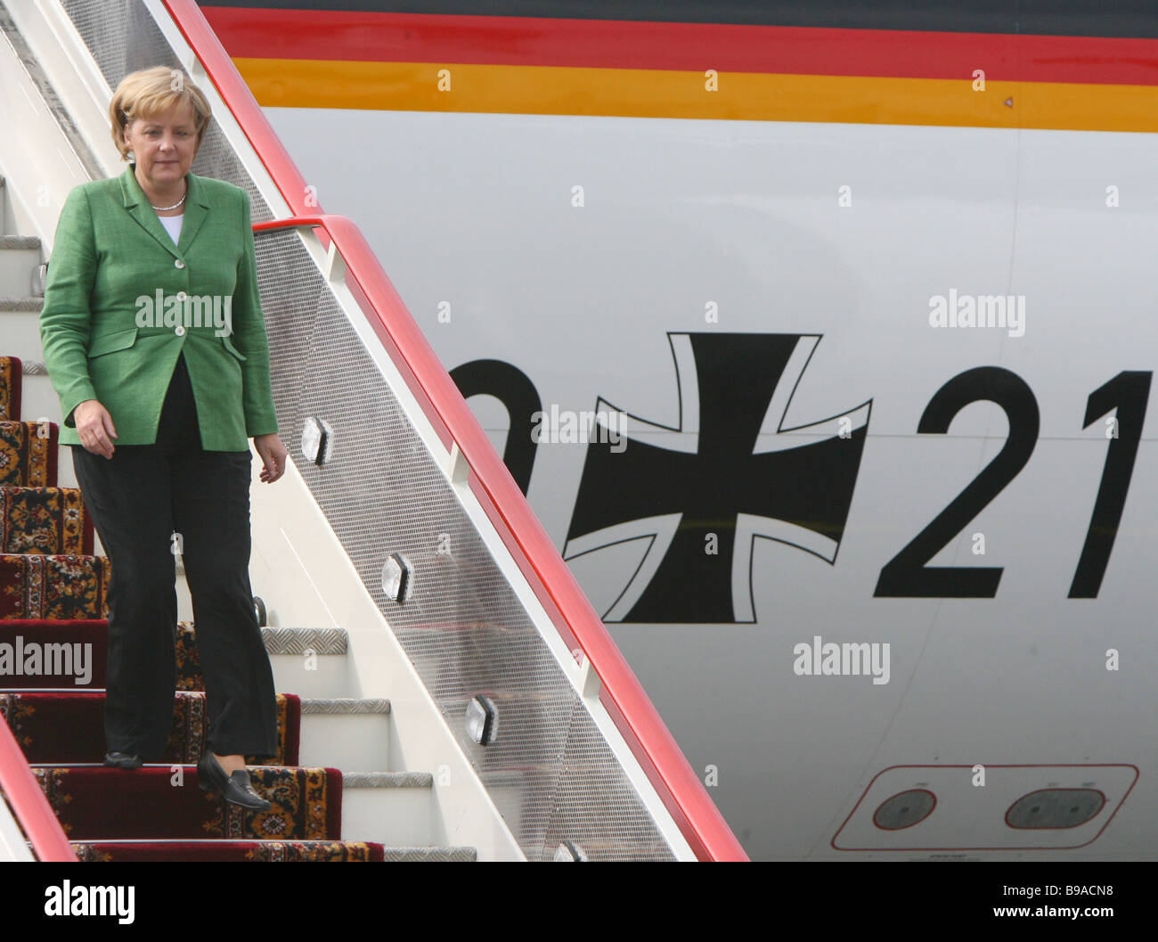 German Federal Chancellor Angela Merkel arriving in St Petersburg Pulkovo airport for the G8 Summit - Stock Image