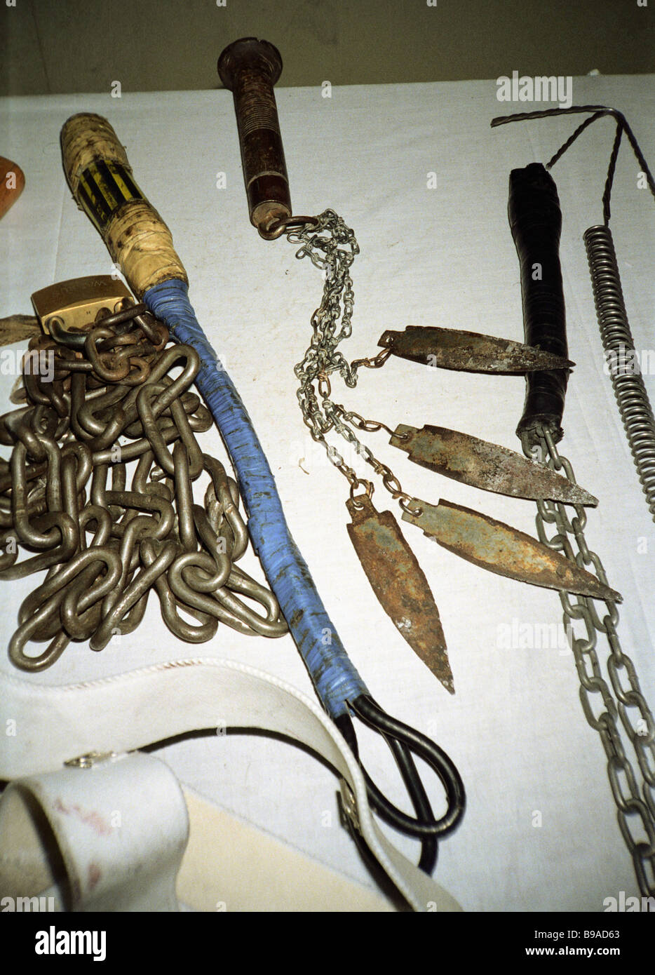 Torture instruments used by Iraqi occupants in Kuwait - Stock Image