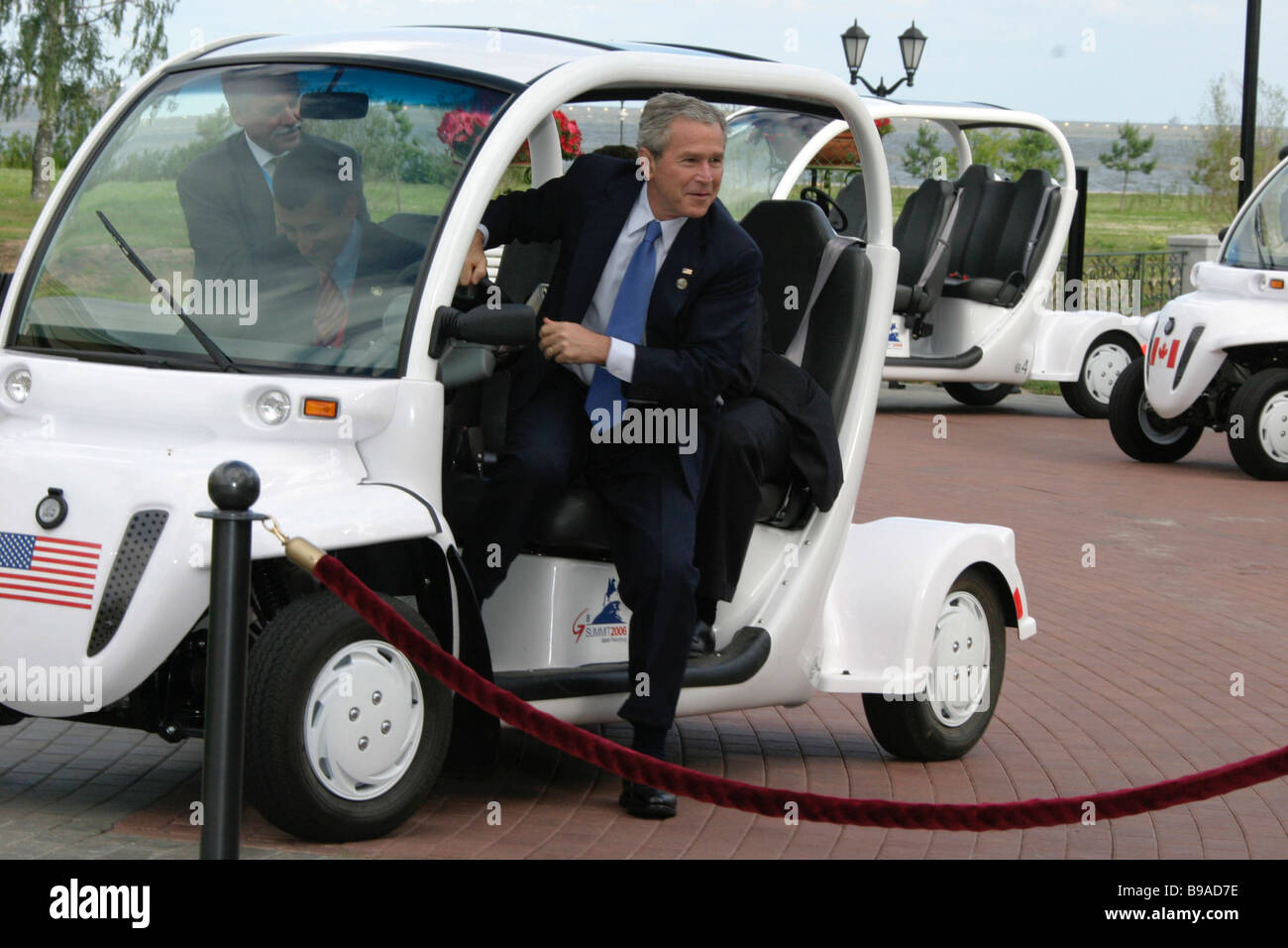 U S President George Bush before the working meeting of the G8 leaders Stock Photo