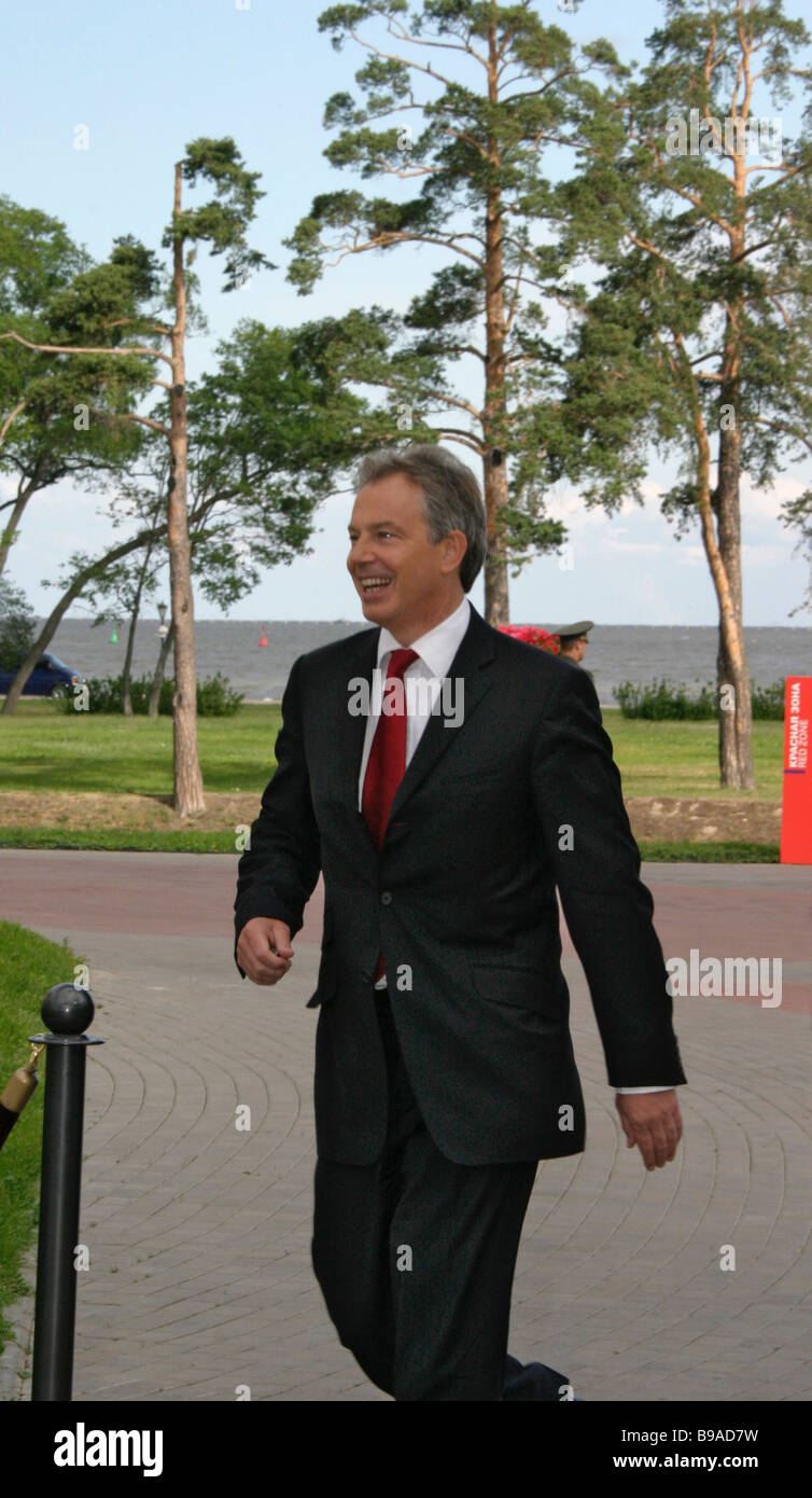 British Prime Minister Tony Blair before the working meeting of the G8 leaders - Stock Image