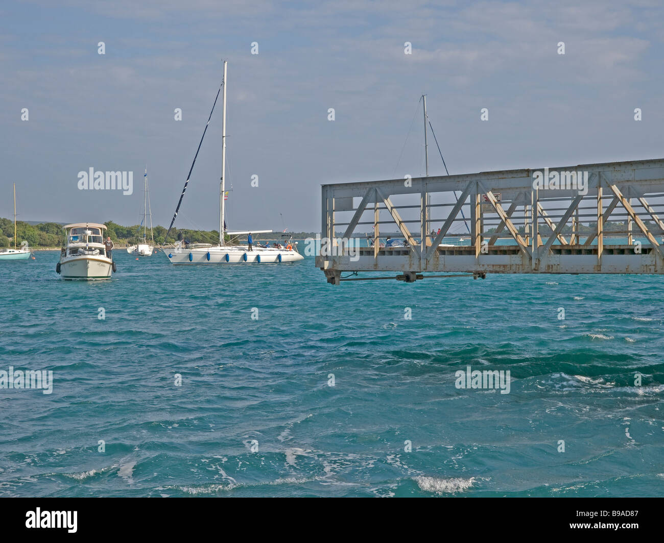 pivot bridge turn bridge in Osor giving the free passage for boats through the channel between the islands Cres - Stock Image