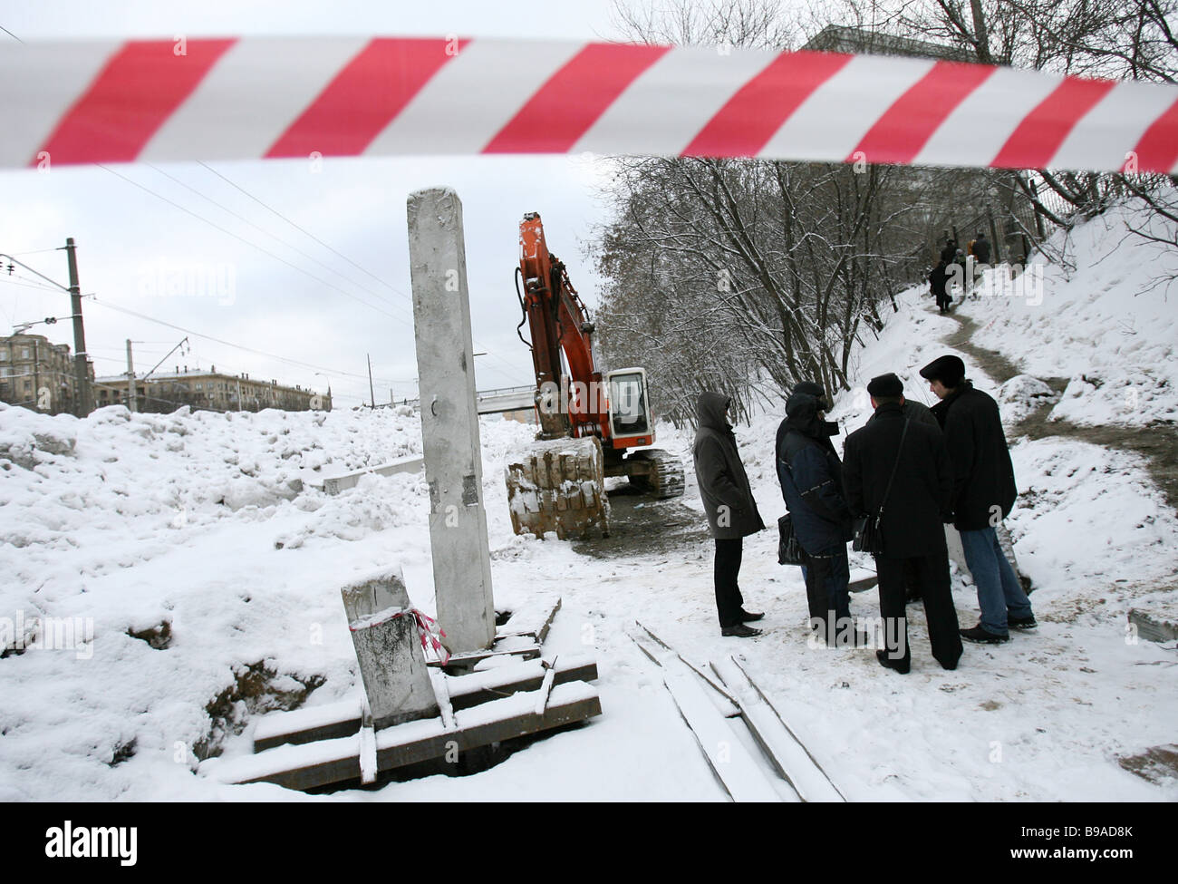 An accident occurred at a sector of the tunnel between the Voikovskaya and Sokol metro station when assembling an - Stock Image