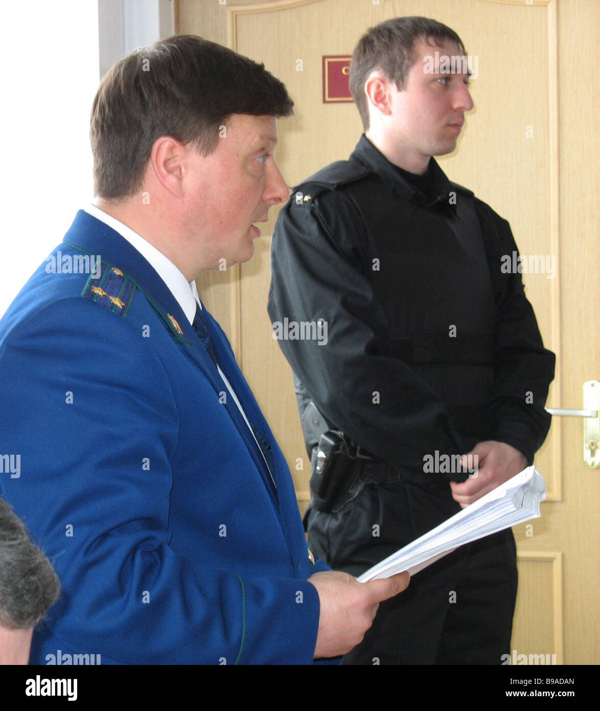 Prosecutor Vladimir Lozitsky reading out accusation in the Beslan Right Bank Court It is hearing the case of the - Stock Image