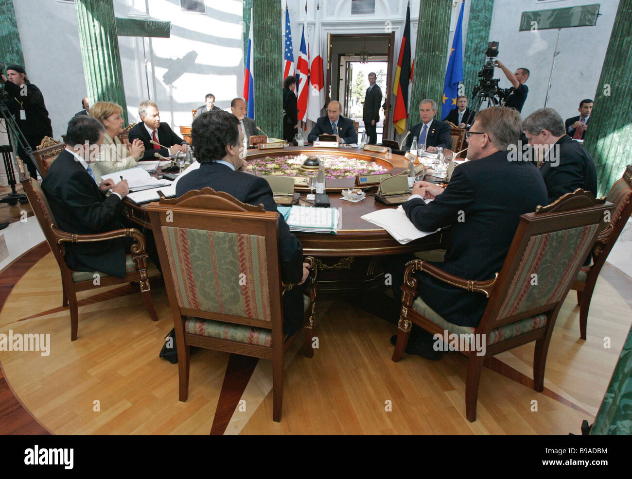 During the first working meeting of the G8 leaders - Stock Image
