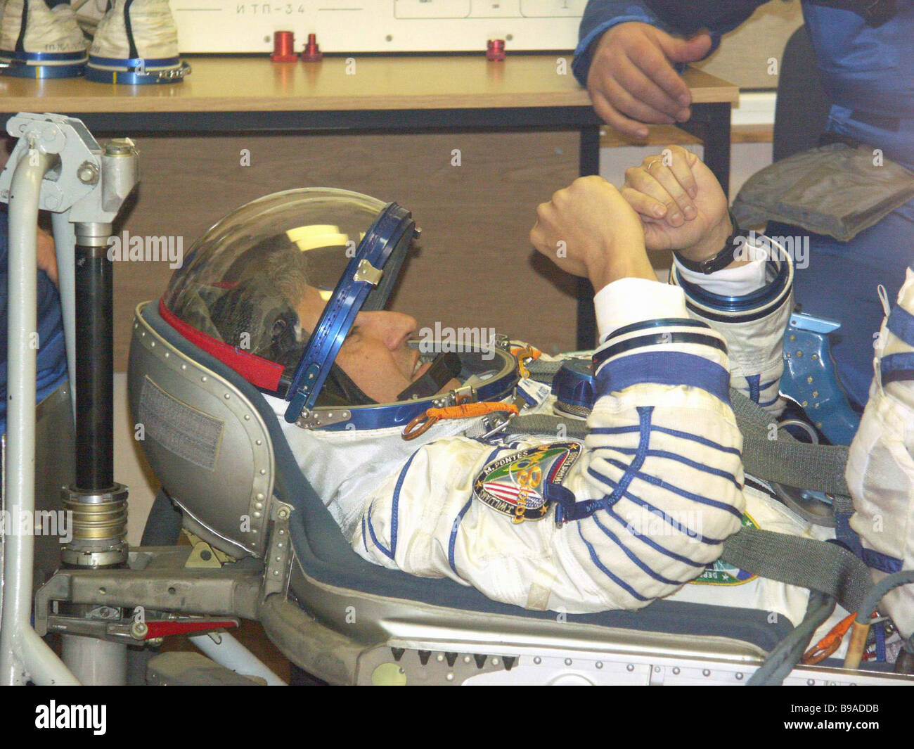 Brazil s first astronaut Marcos Pontes trying on a spacesuit On the Baikonur cosmodrome the flight and stand by - Stock Image