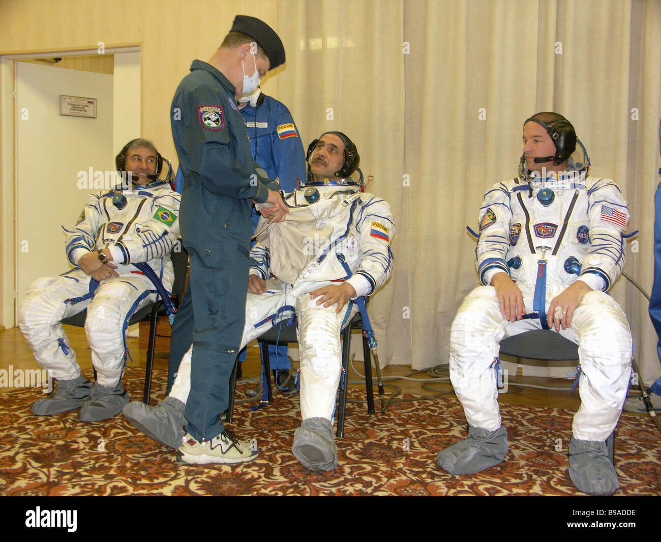 On the Baikonur cosmodrome the flight and stand by crews of the Soyuz TMA 8 spaceship had a training and tried on - Stock Image
