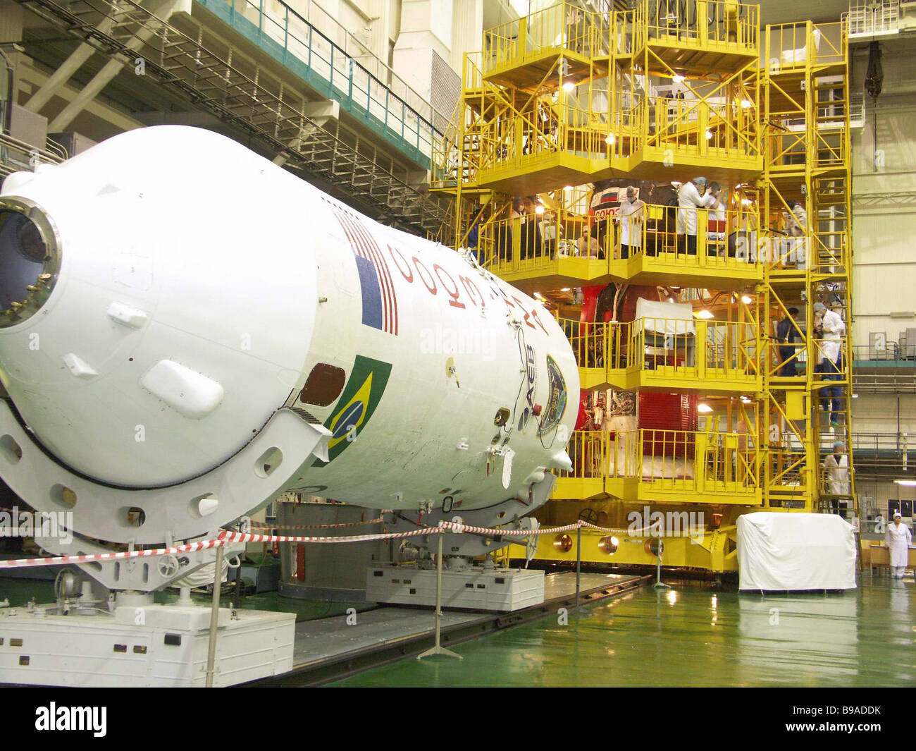 On the Baikonur cosmodrome the flight and stand by crews of the Soyuz TMA 8 spaceship had a training and tried on Stock Photo