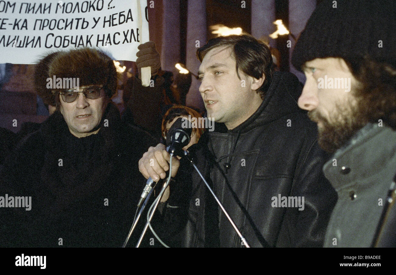 600 seconds anchorman Alexander Nevzorov centre at a meeting organized by the Liberal Democratic faction - Stock Image