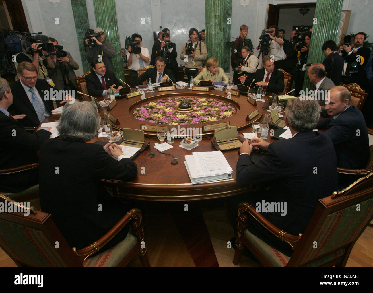 The G8 leaders holding the second working meeting at the St Petersburg summit - Stock Image