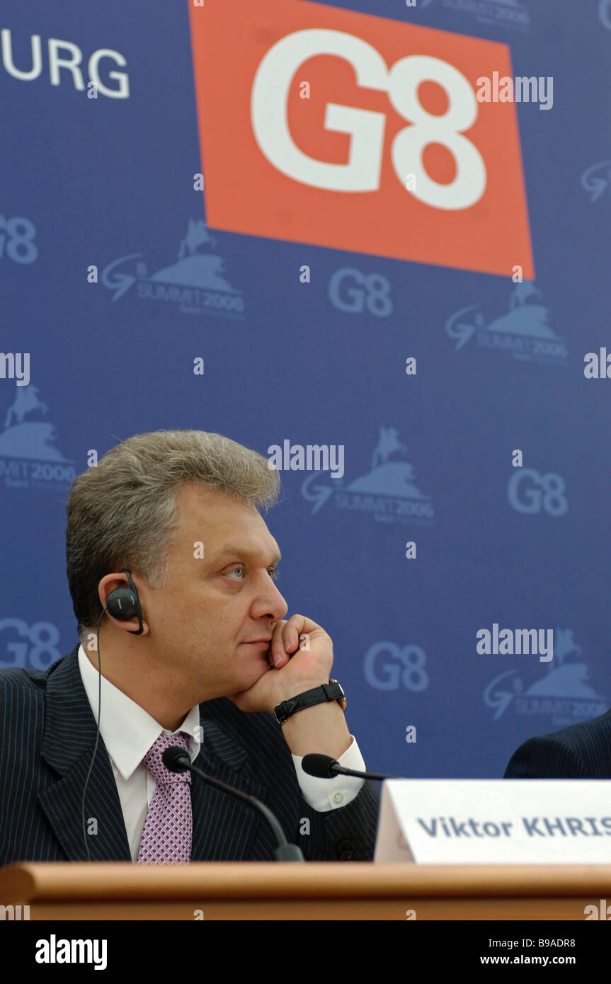 Viktor Khristenko Russia s Industry and Energy Minister addresses a news conference at the G8 summit International - Stock Image