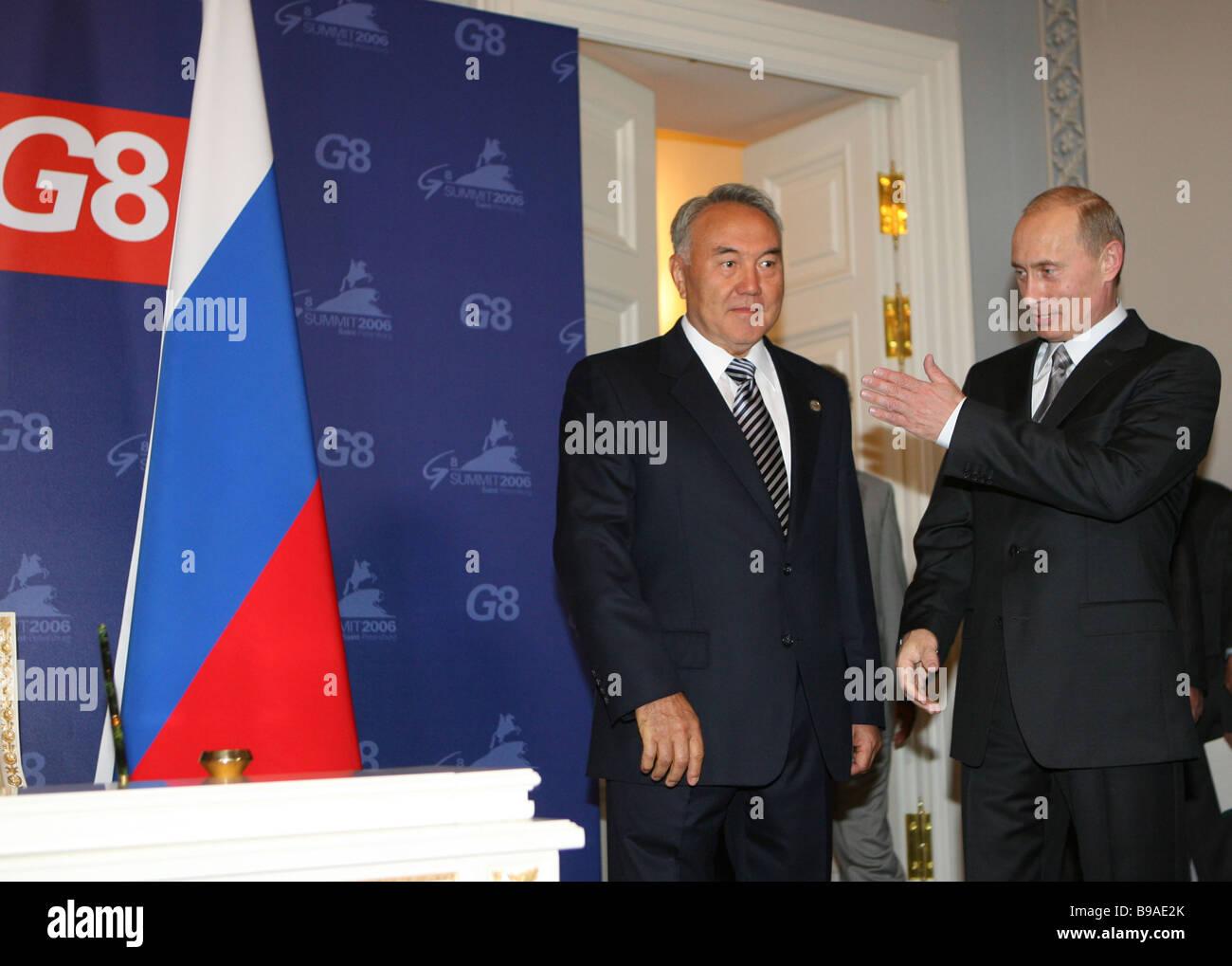 Bilateral meeting of President Vladimir Putin of Russia and President Nursultan Nazarbayev of Kazakhstan right to - Stock Image