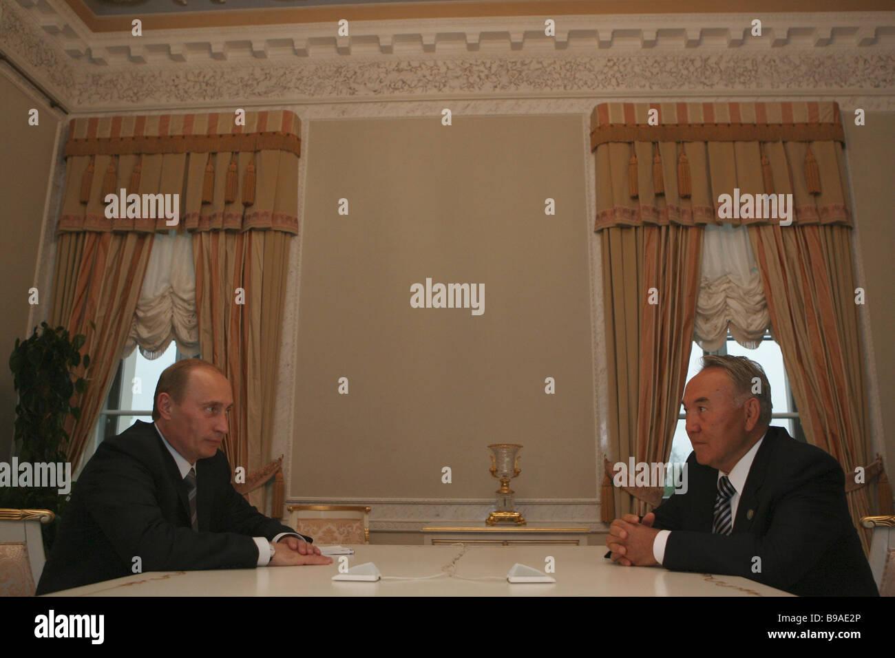 Bilateral meeting between President Vladimir Putin of Russia left and President Nursultan Nazarbayev of Kazakhstan - Stock Image