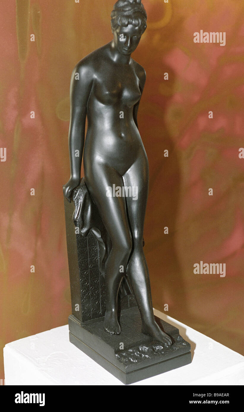 Cast iron sculpture Lady Bather by unnamed author on display at exhibition Russian Decorative Casting in the XIX - Stock Image
