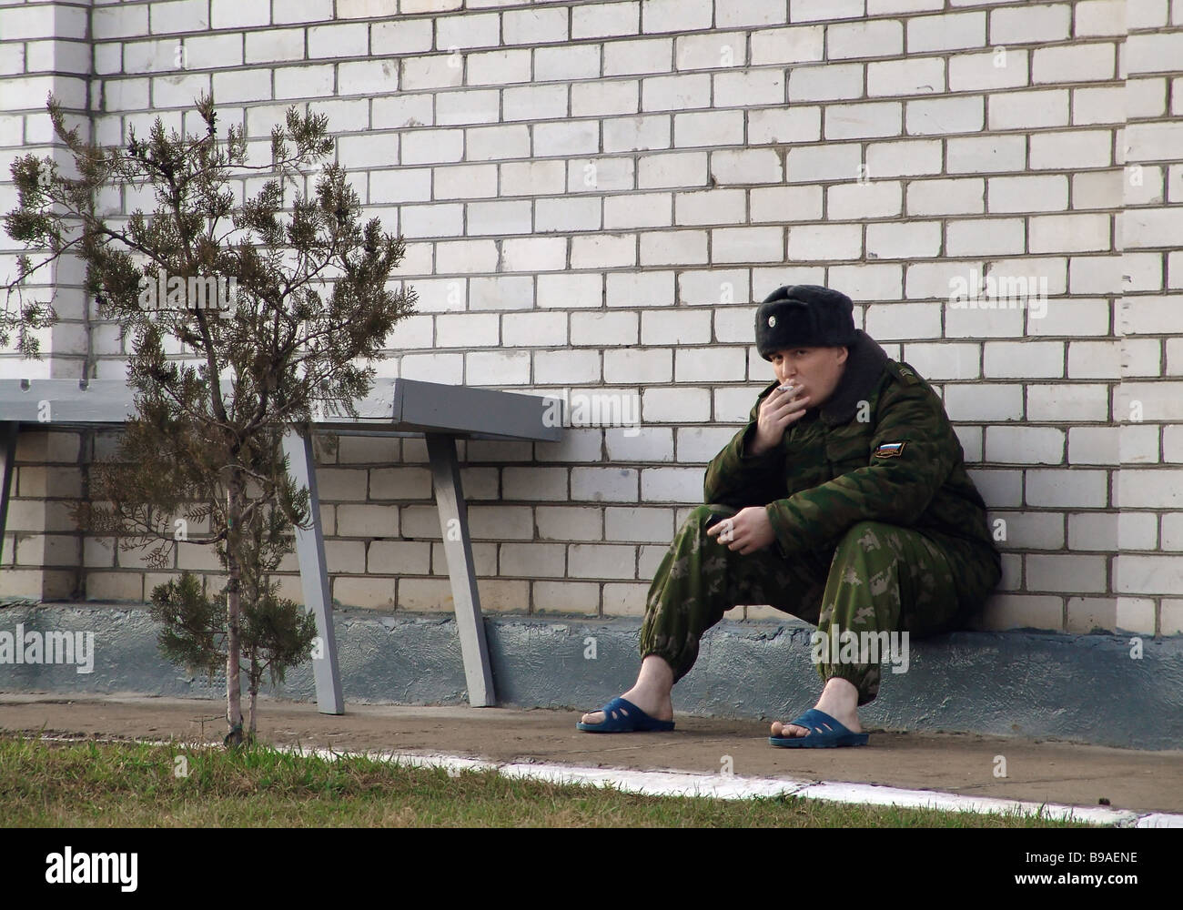 In the 46th Interior Troops Brigade of the Russian Interior Ministry in Chechnya - Stock Image