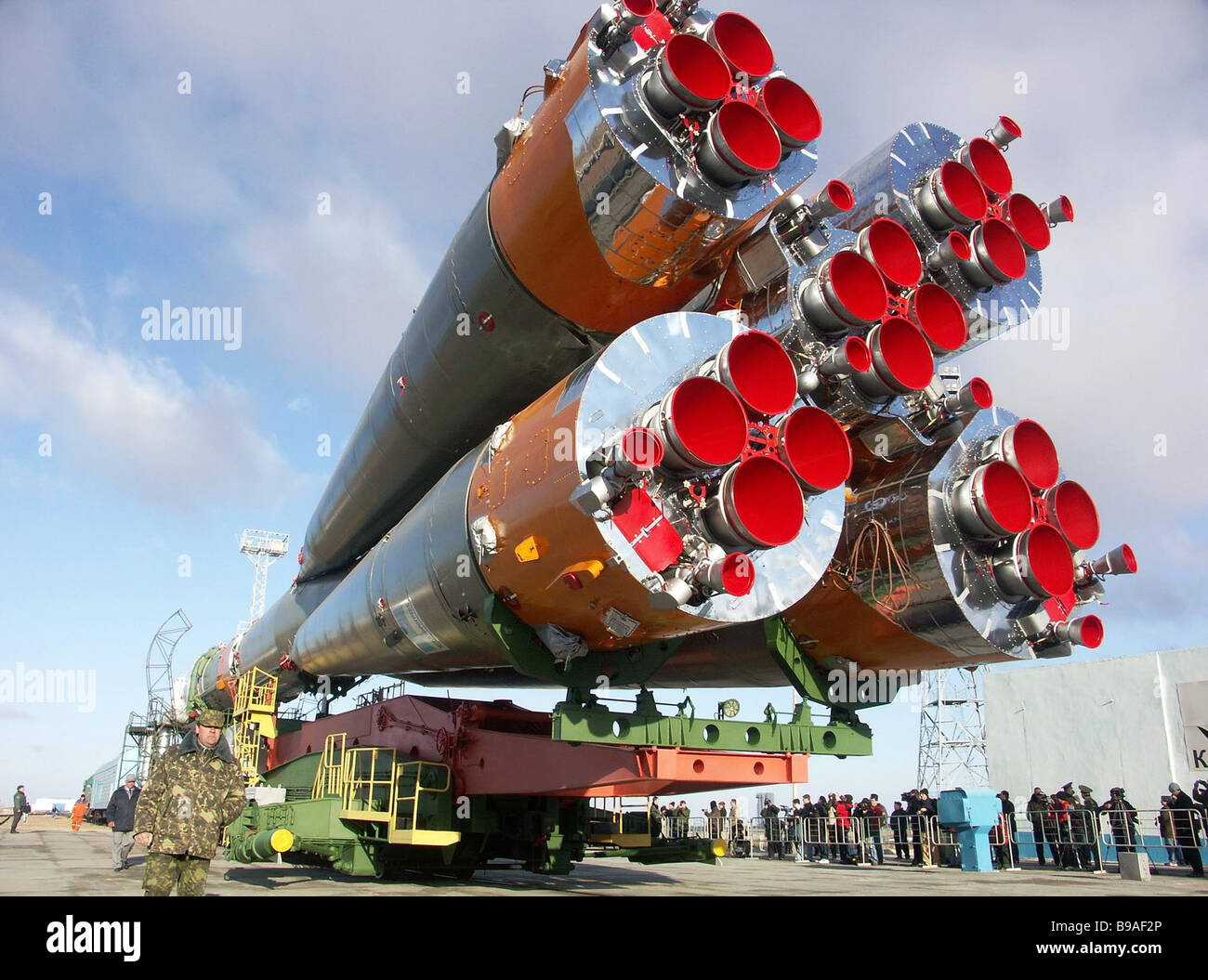 The Soyuz booster carrying the Soyuz TMA 8 spaceship brought to the Baikonur cosmodrome s launch pad The launch - Stock Image