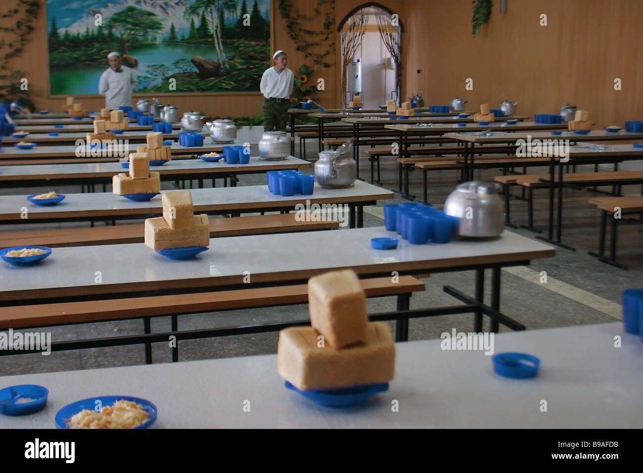A soldiers canteen of the 46th Brigade of the Russian Internal Troops - Stock Image