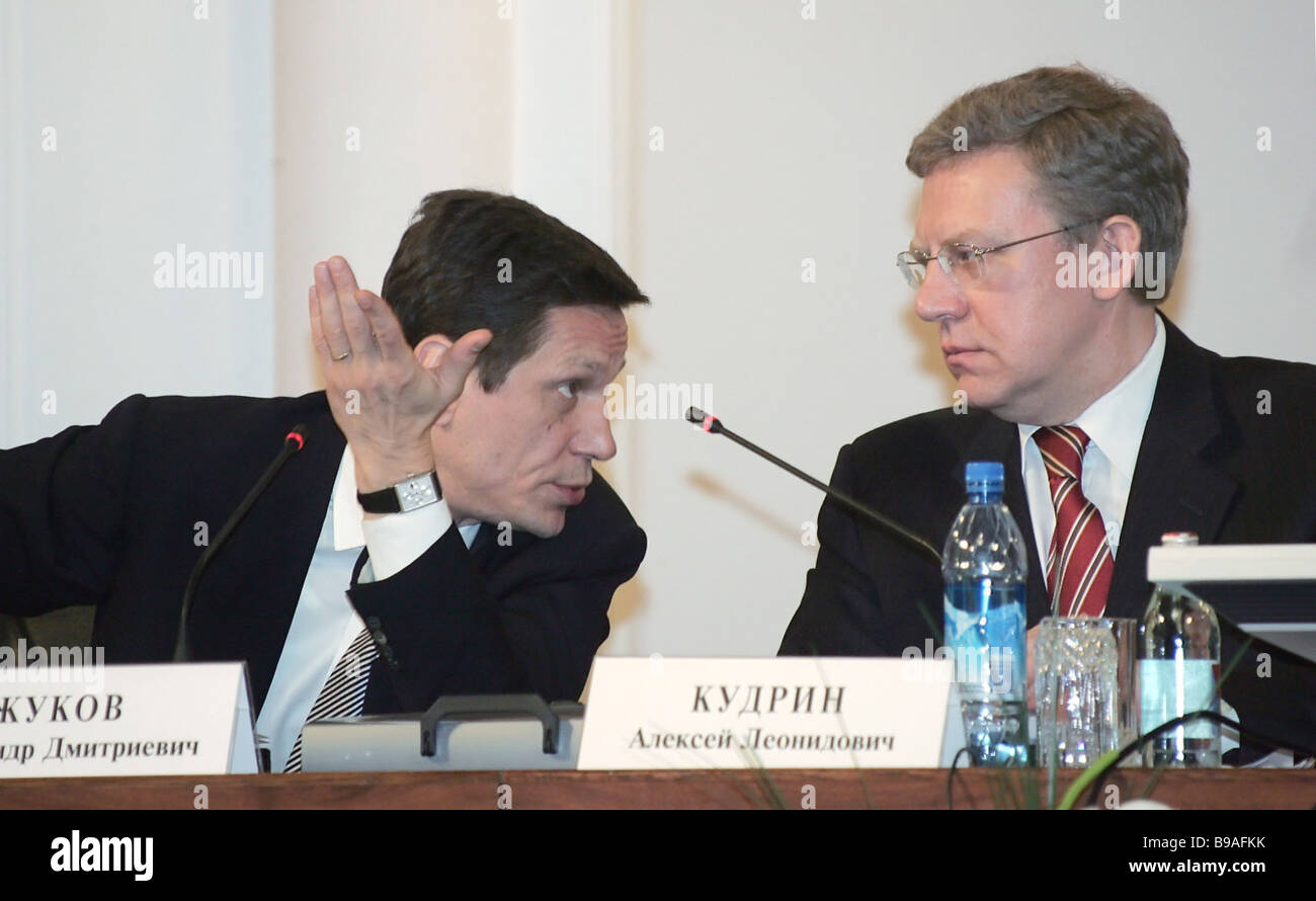 Vice Premier Alexander Zhukov and Finance Minister Alexei Kudrin left to right at the expanded collegium sitting - Stock Image