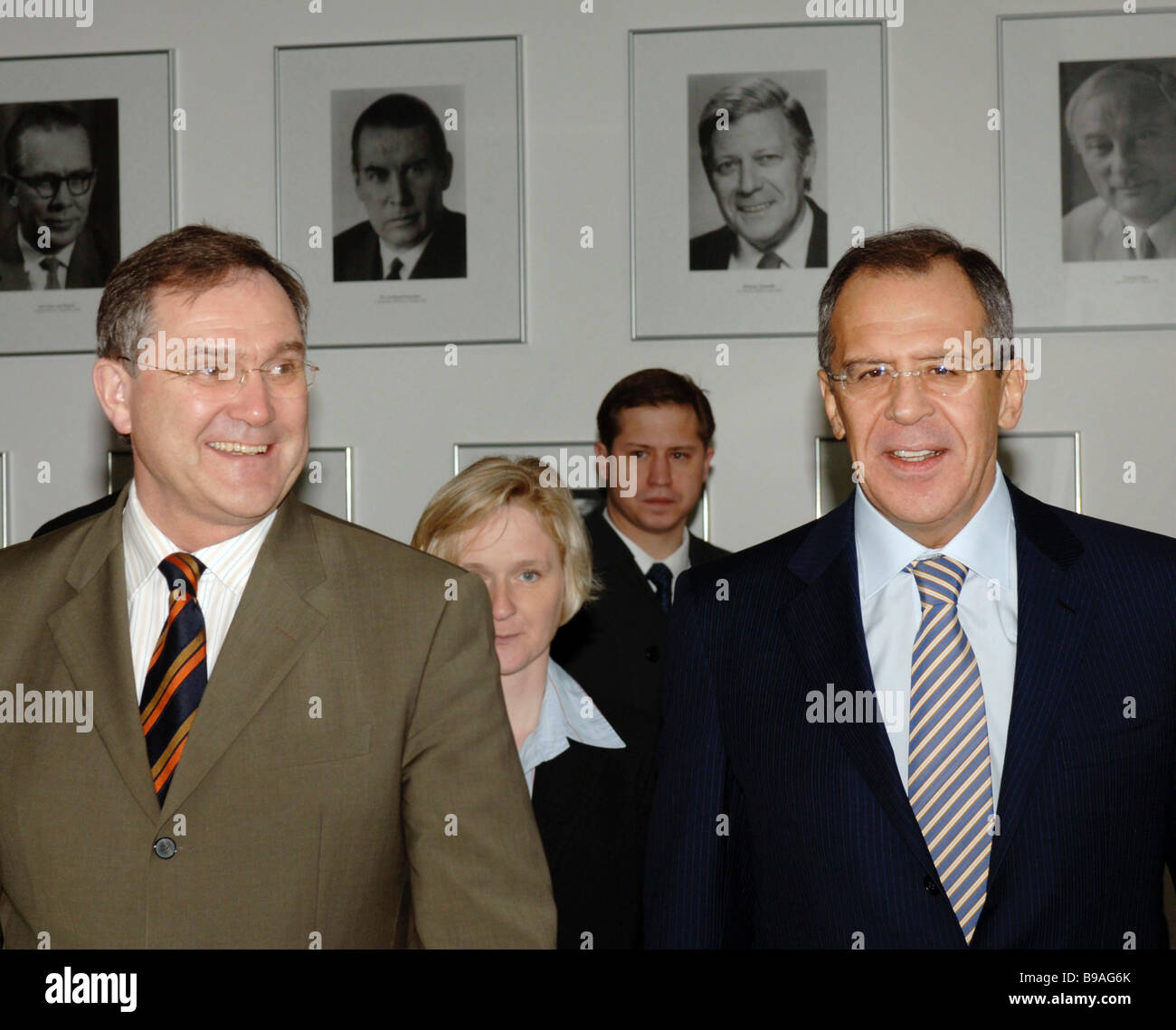 Franz Josef Jung Defense Minister of Germany left and Sergei Lavrov Russia s Foreign Minister meet in Berlin - Stock Image