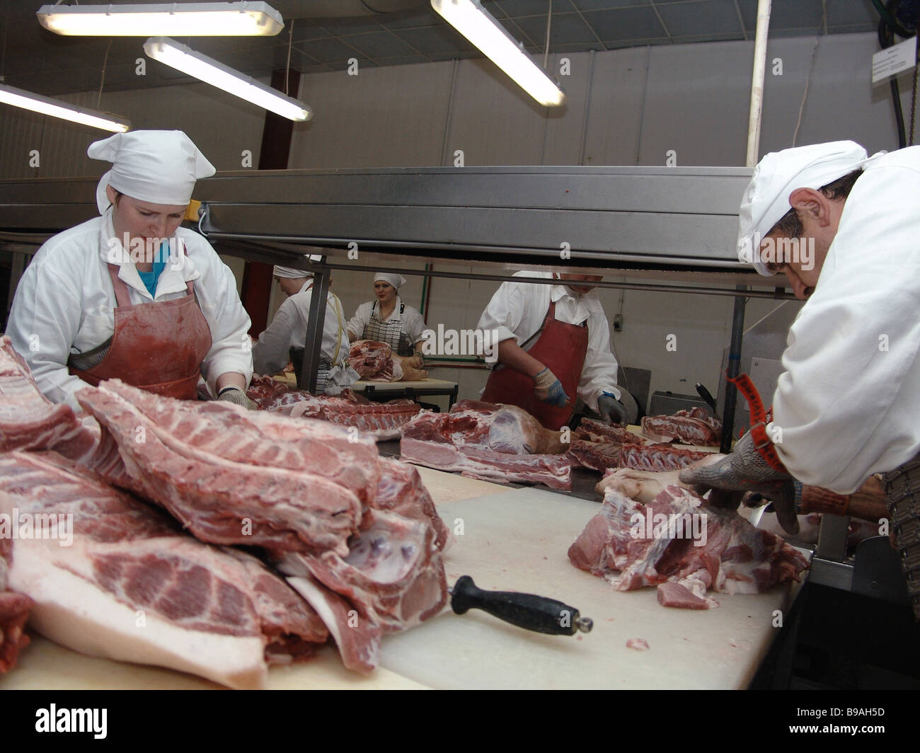 The Omsk Bacon factory Meat processing shop 47 - Stock Image
