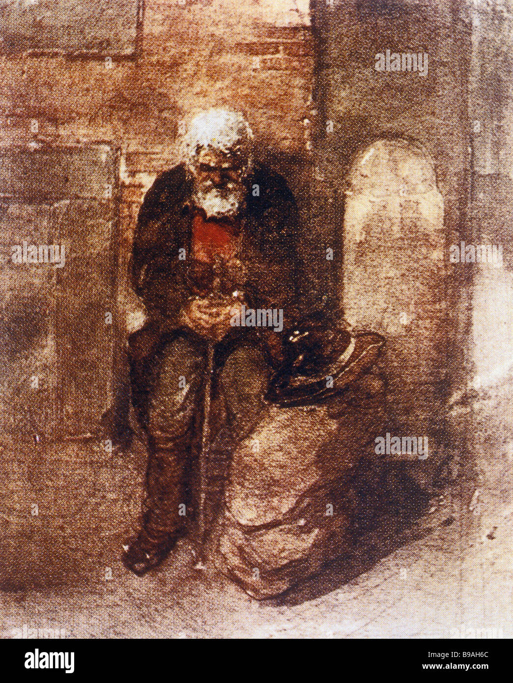 Victor Hartmann 1834 1873 Poor Jew Sepia - Stock Image