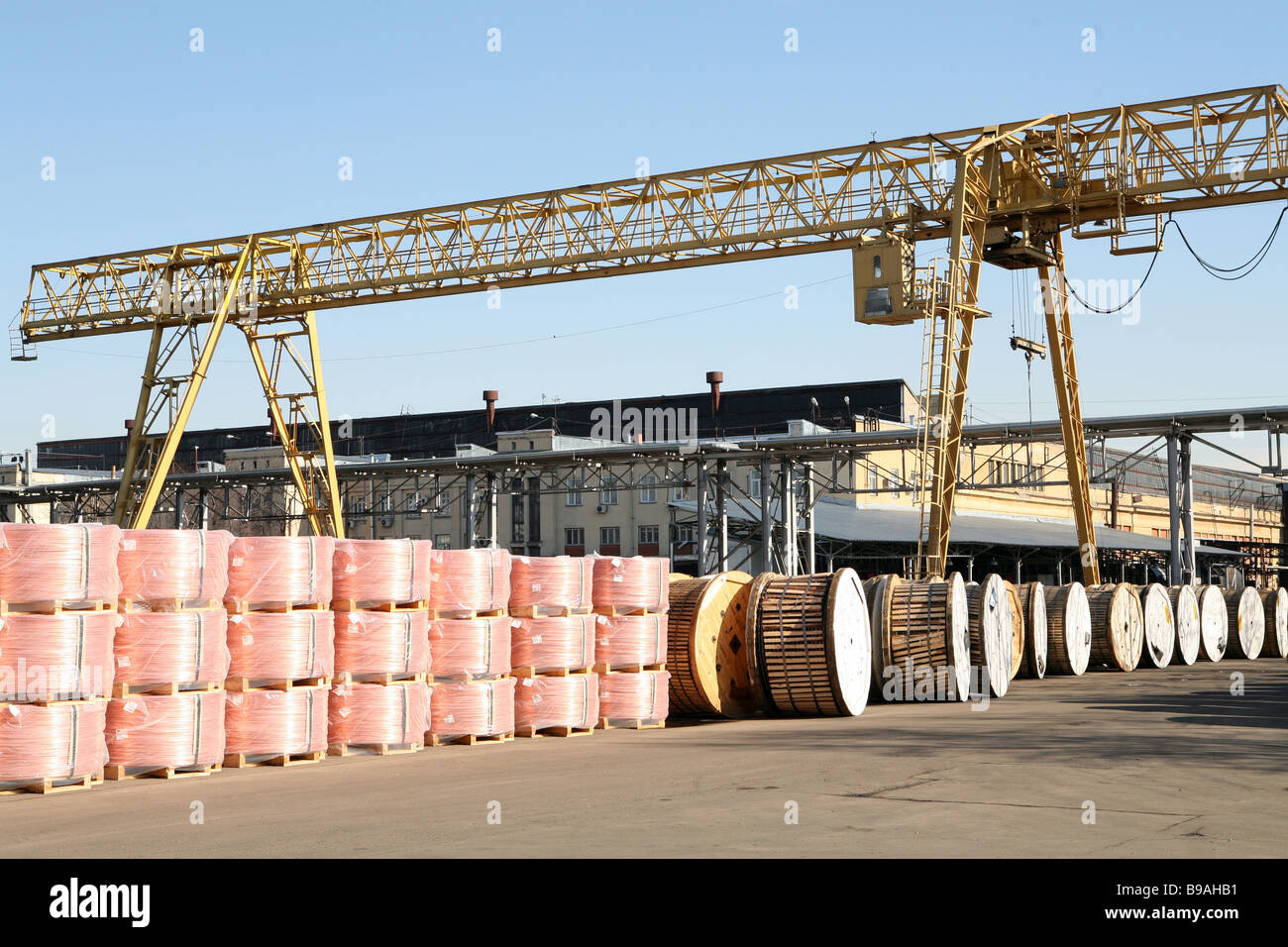 The Moscow based Moskabelmet cable works finished produce area - Stock Image