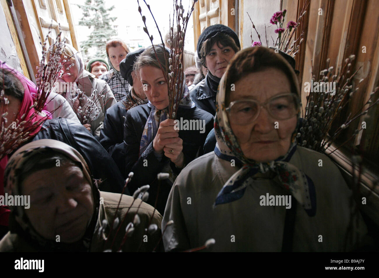 Parishioners of the Church of All Saints at Sokol on Palm Sunday - Stock Image