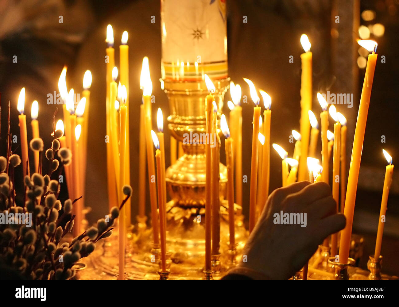 A service at the Church of All Saints at Sokol on Palm Sunday - Stock Image