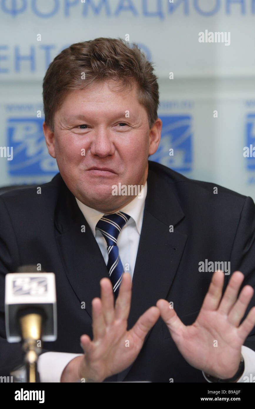 Alexei Miller board chairman of the public company Gazprom attends RIA Novosti news conference - Stock Image
