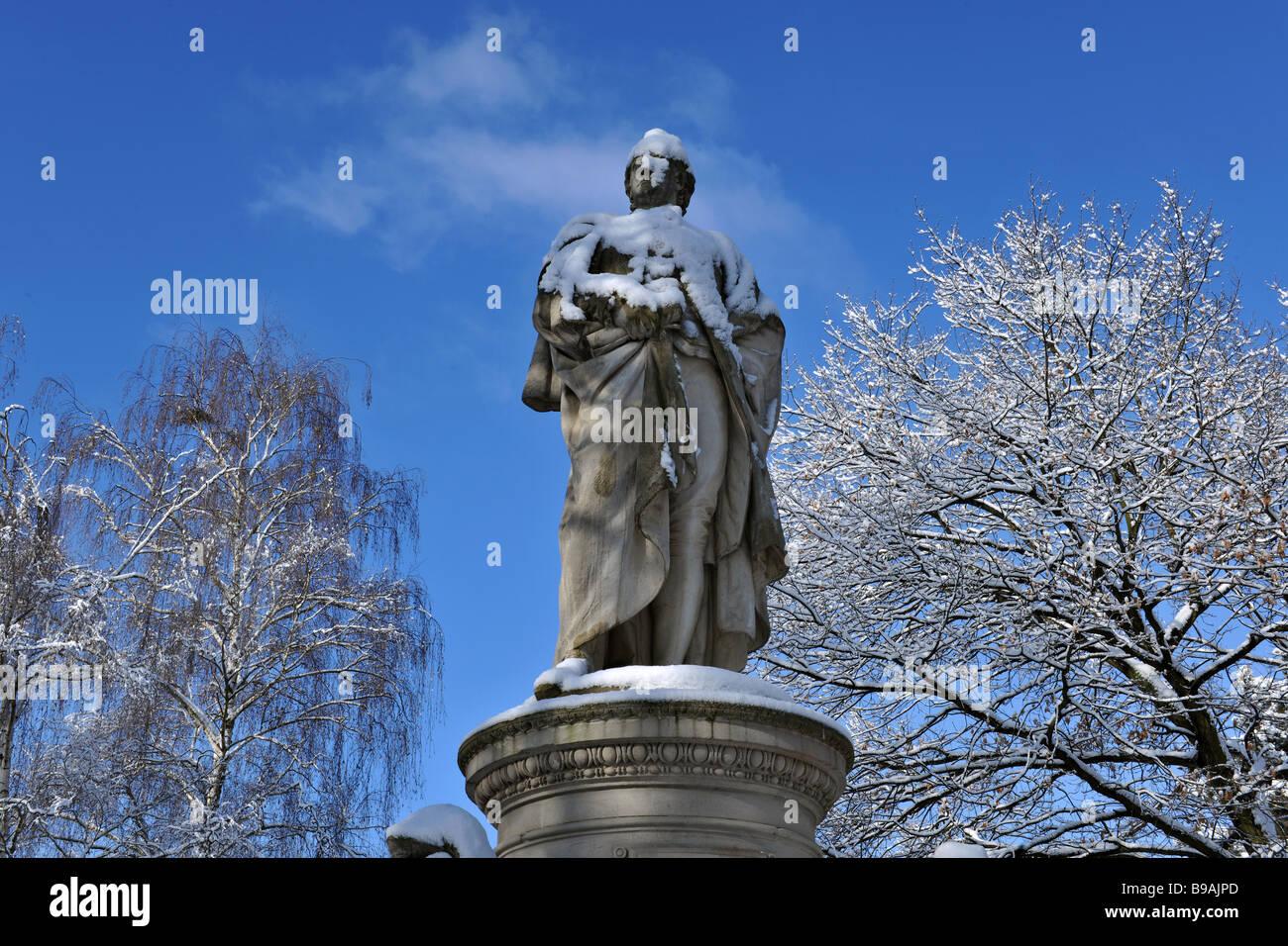 Germany Berlin Goethe statue in Tiergarten city center 2009 - Stock Image