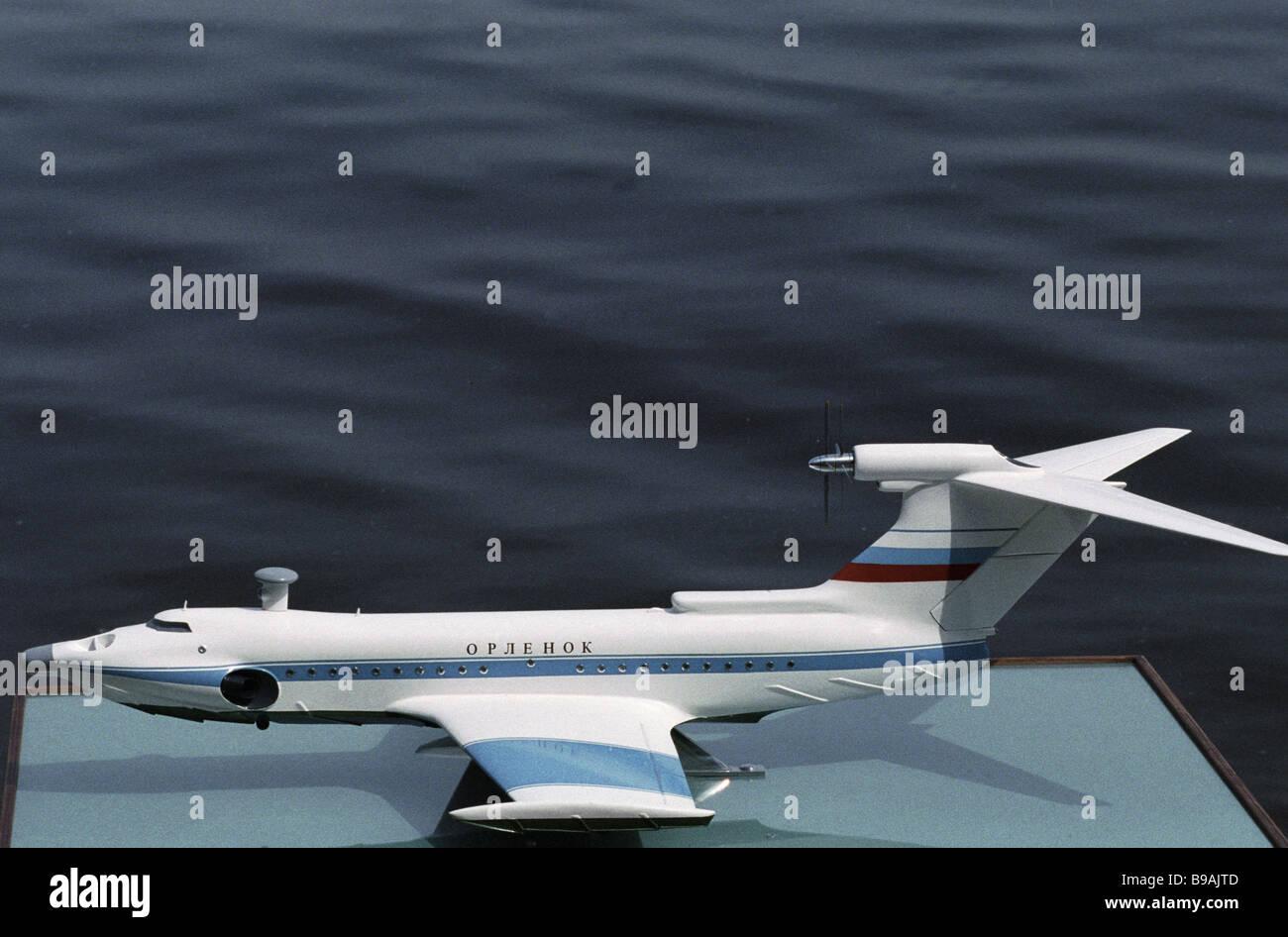 A model of the Orlenok wing in ground transport craft designed by the Alekseyev Design Bureau - Stock Image