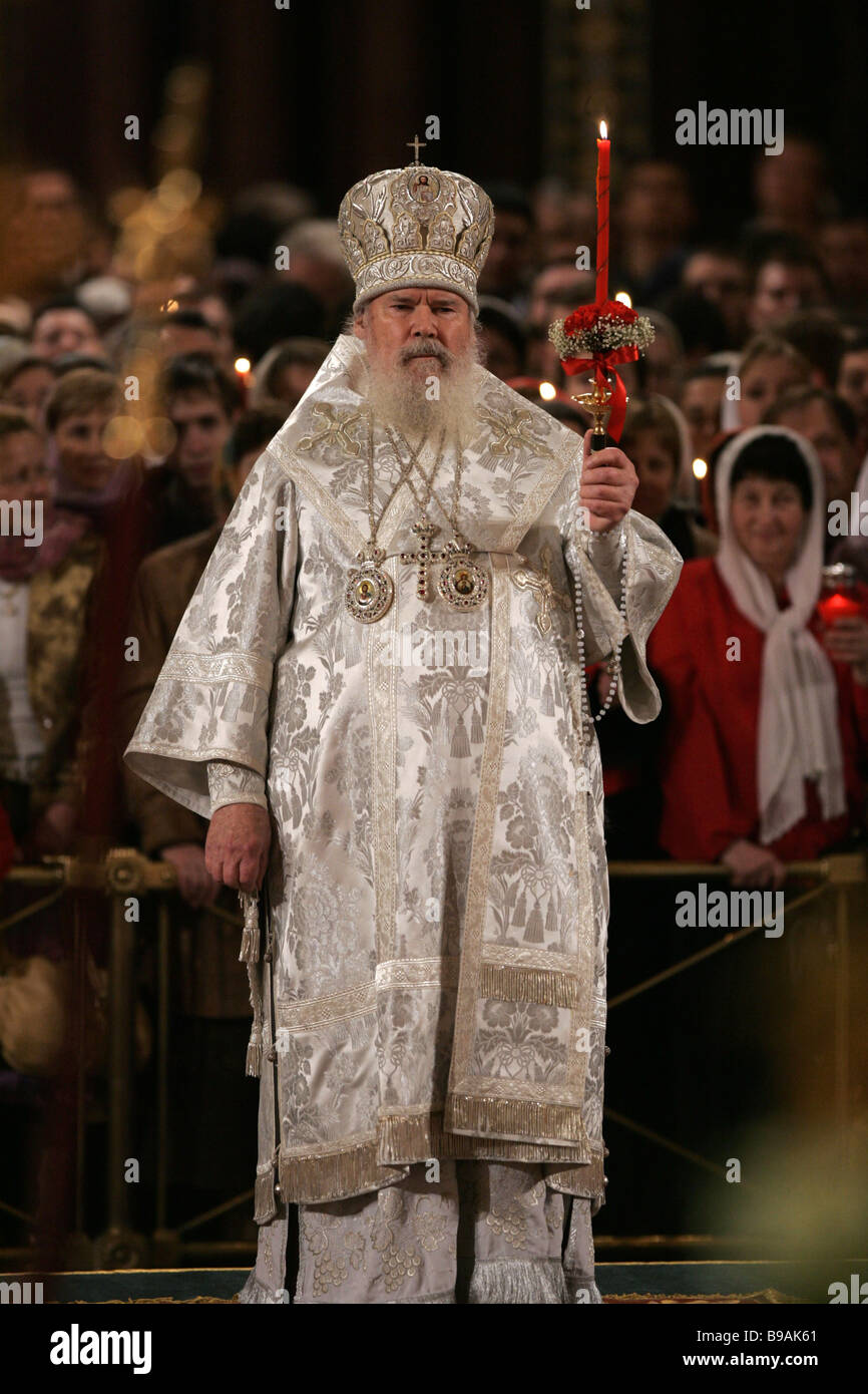 Alexis II the Patriarch of Moscow and All Russia serves Easter liturgy in the Cathedral of Christ the Savior Moscow - Stock Image