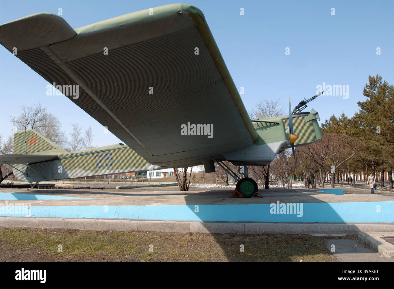 Heavy four engined TB 3 bomber on the territory of the public company Komsomolsk on Amur Aircraft Production Association - Stock Image