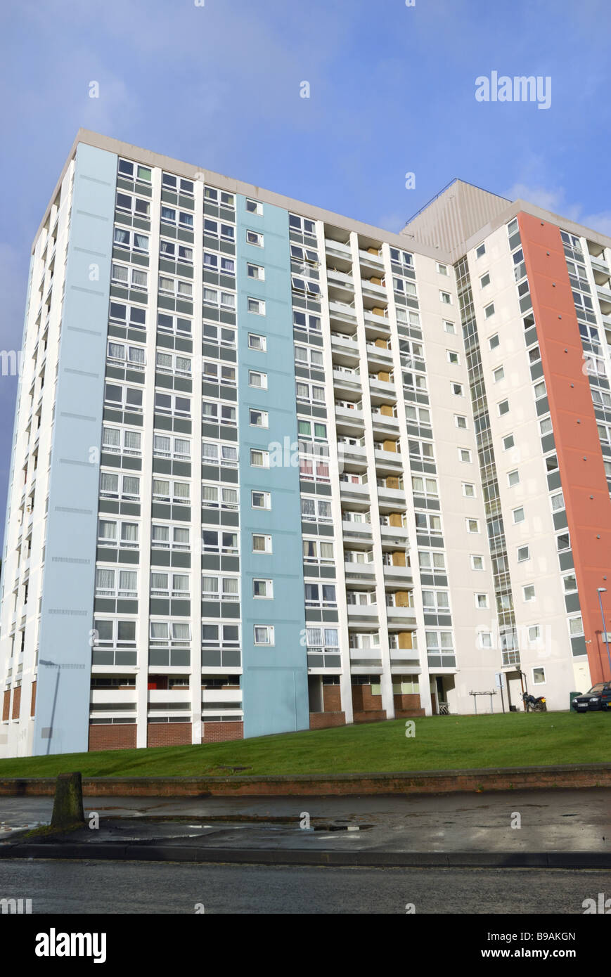 A newly painted 1960`s estate of flats and  blue sky in the Redcliffe area of Bristol Stock Photo