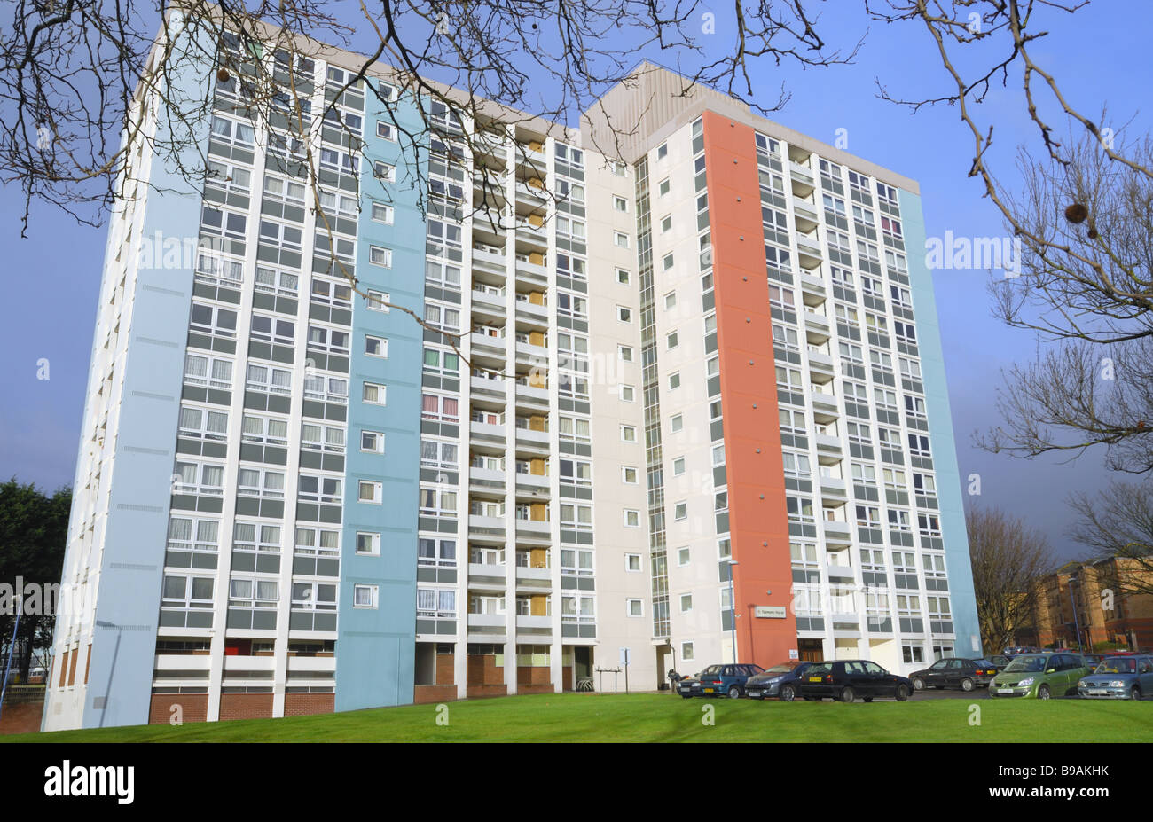 A newly painted 1960`s estate of flats blue sky, Redcliffe Bristol - Stock Image