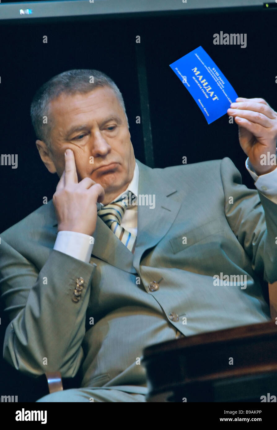 Liberal Democratic leader Vladimir Zhirinovsky votes during the 18th extraordinary congress of his party timed to - Stock Image