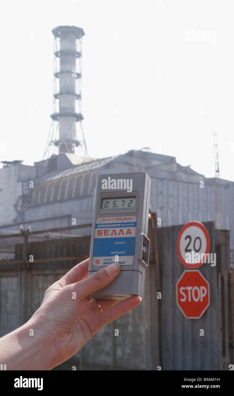 Radiation metering on site of the Chernobyl nuclear power plant - Stock Image