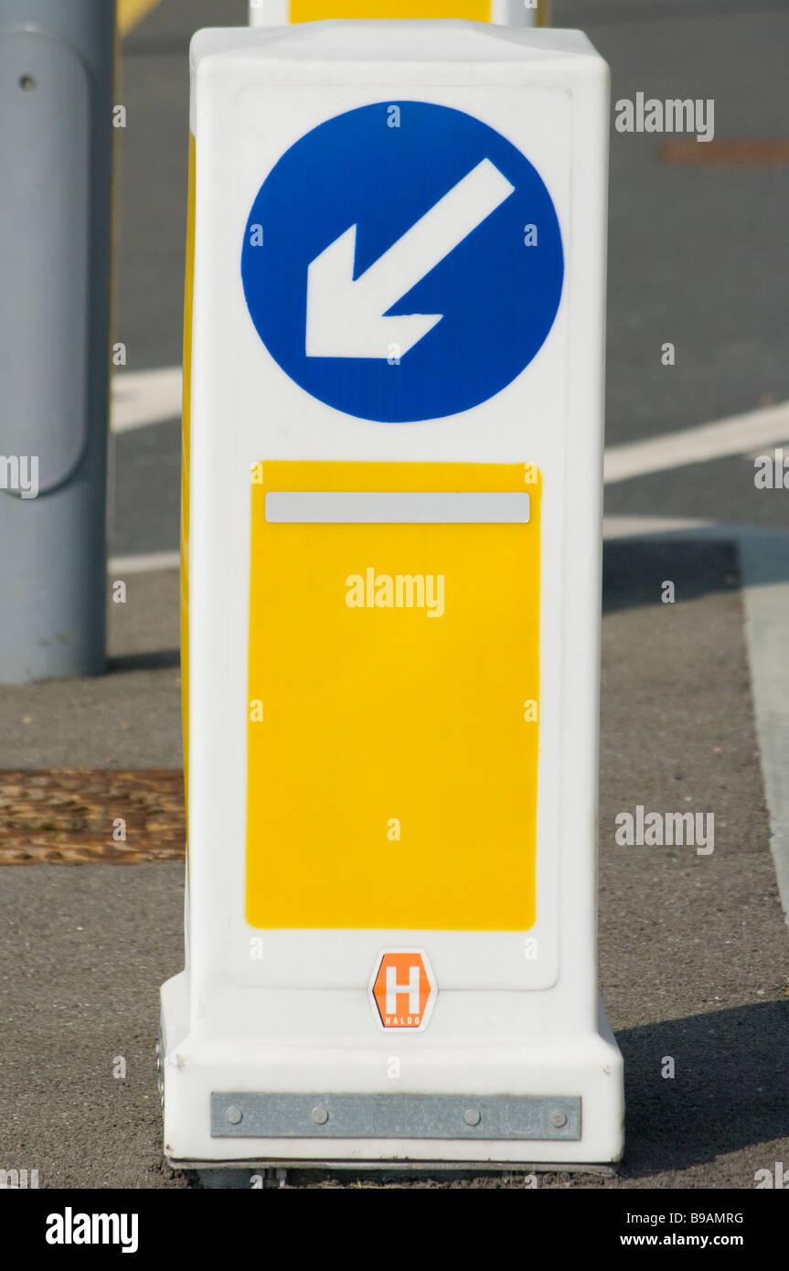 Keep Left Road Traffic Bollard uk Sign Signs - Stock Image