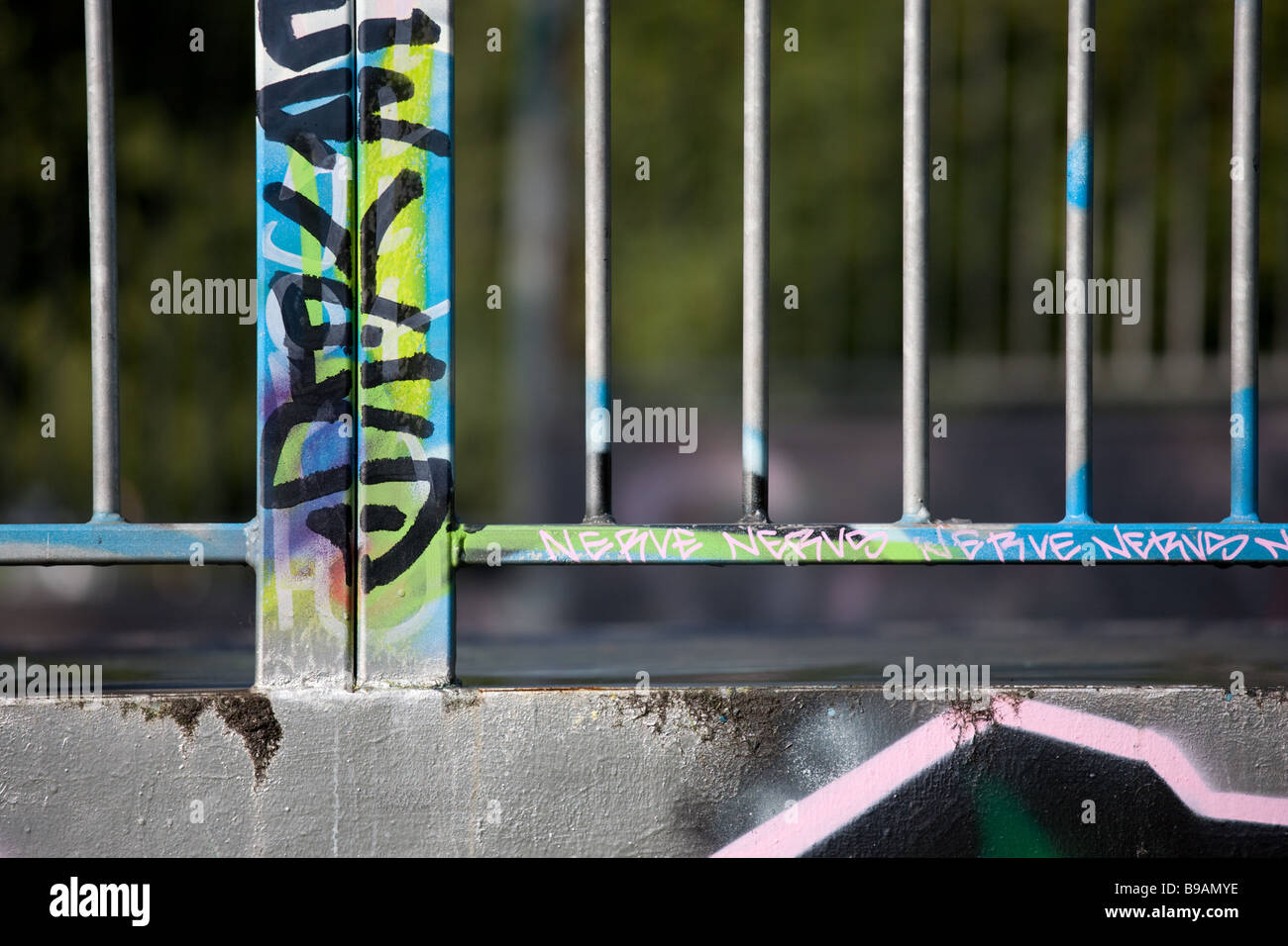 graffiti on steelwork - Stock Image