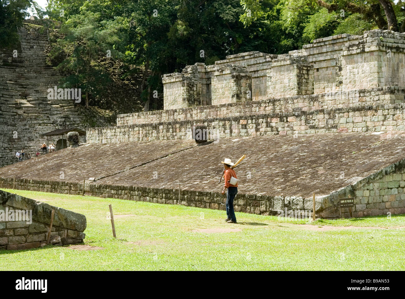 Copan, Honduras. The ballcourt at the Great Plaza, - Stock Image