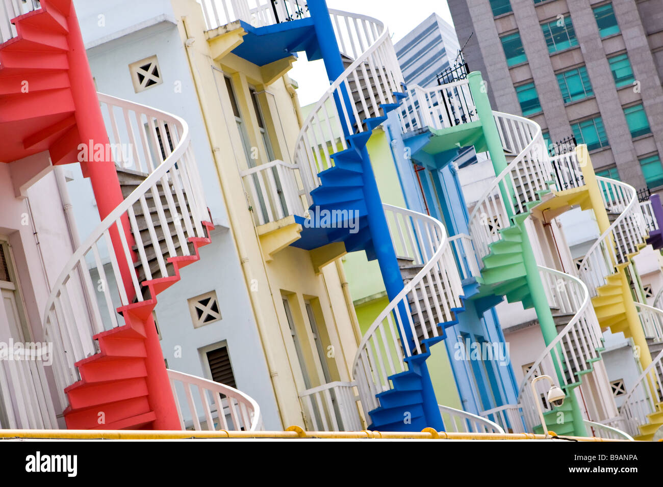 Colourful Spiral Staircases in Singapore - Stock Image