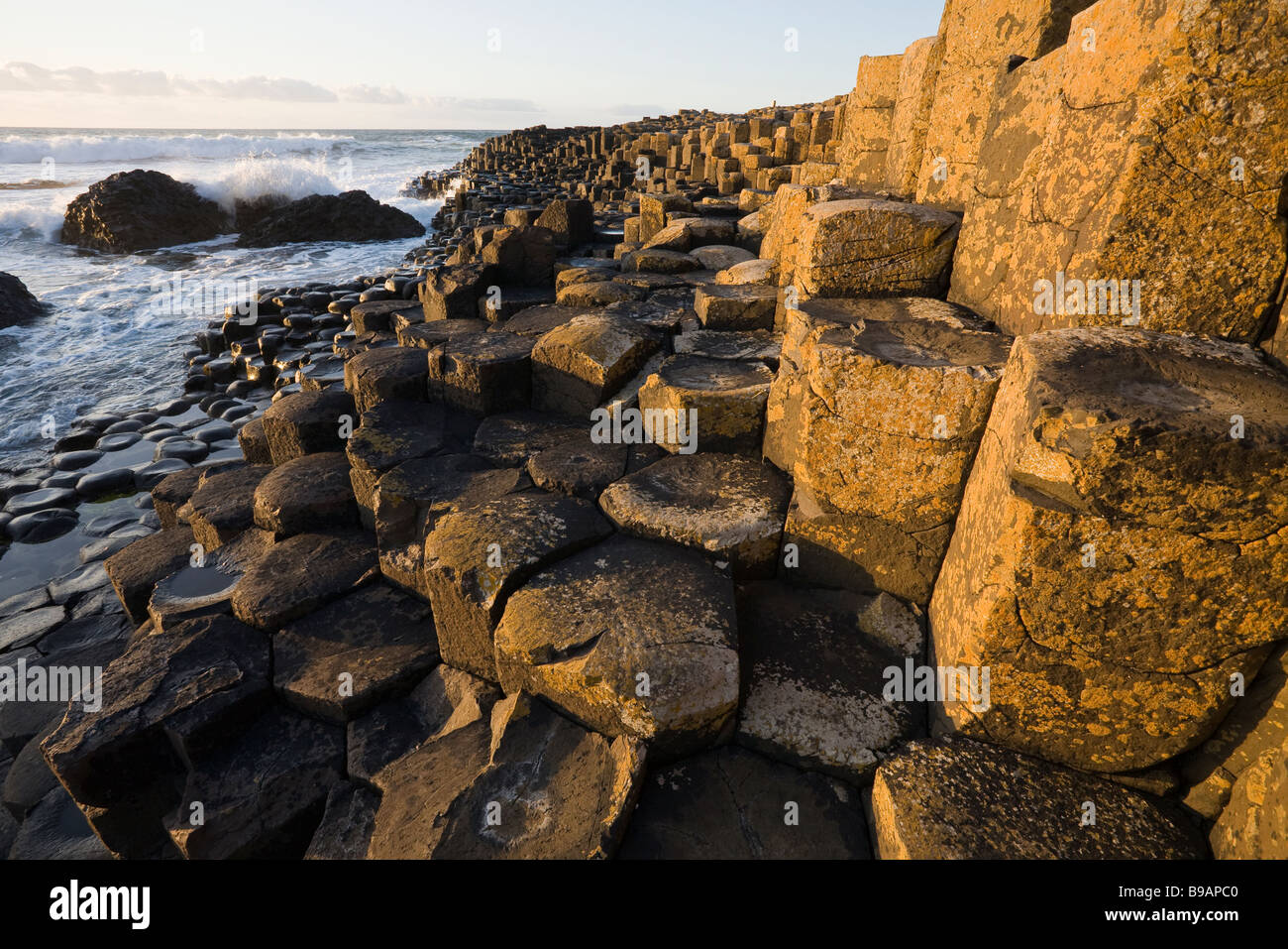 Giant's Steps Horizontal. The basalt pillars of the Giant's Causeway glow in the sun as they step down into - Stock Image