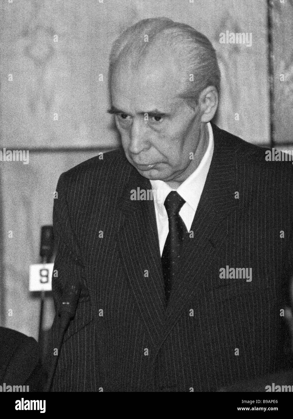Former Chief of the Soviet KGB security service Yuri Plekhanov charged with plotting a state coup GKChP answers - Stock Image