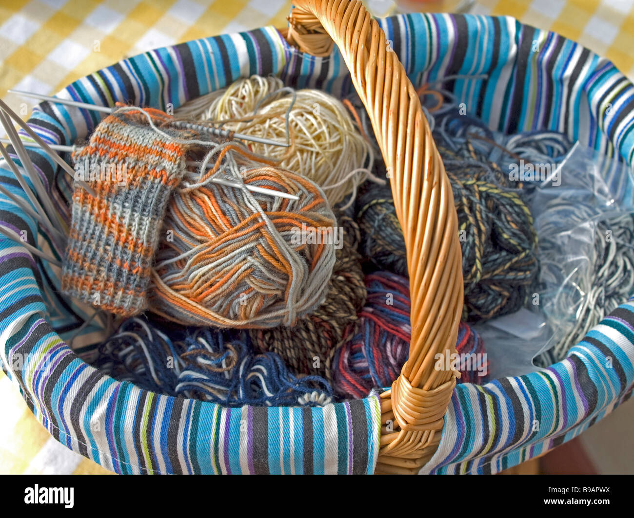 Handicrafts In A Basket With Knitting For Socks Stock Photo