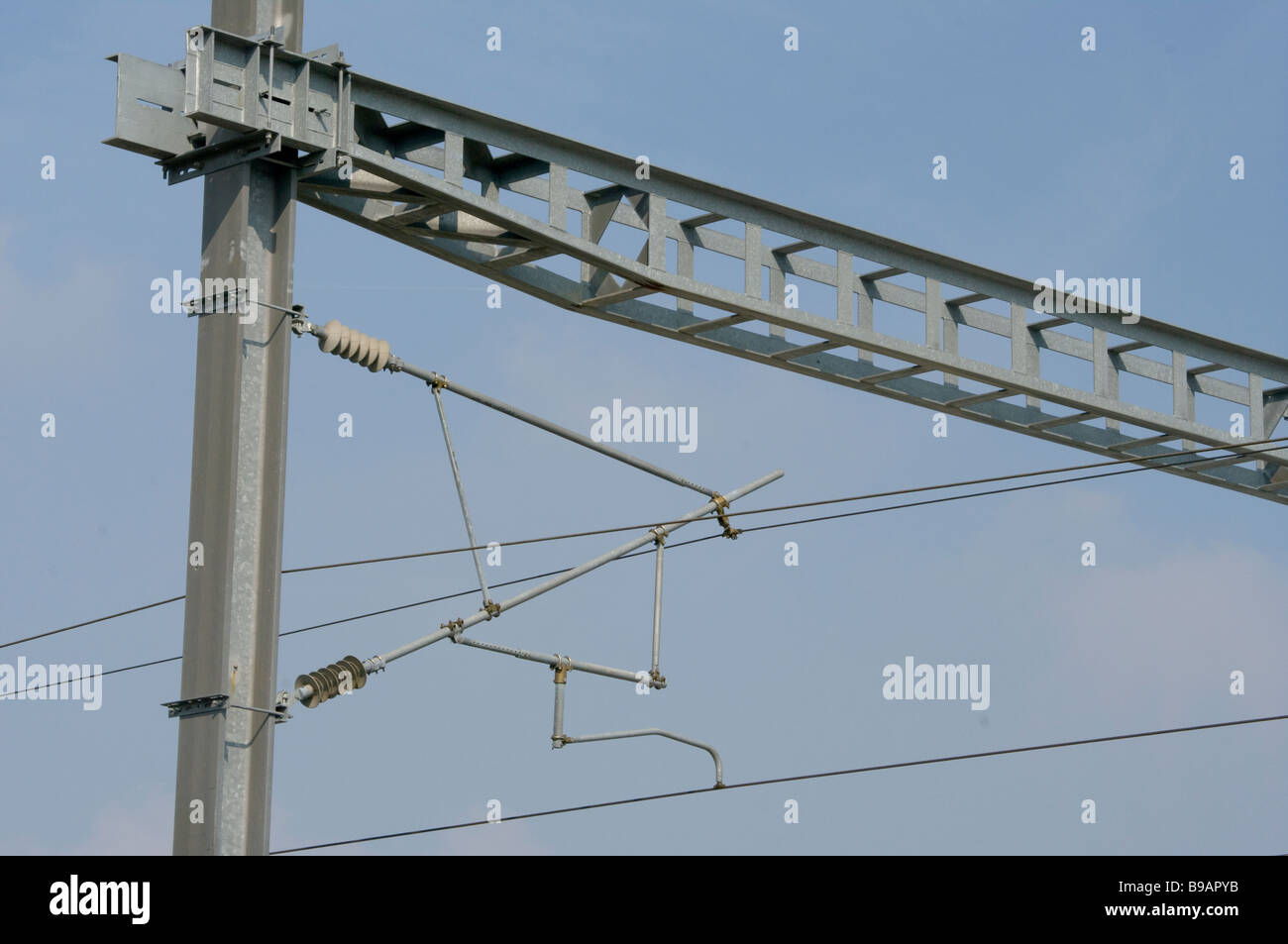 Suspended Overhead Electric Power Train Lines cables - Stock Image