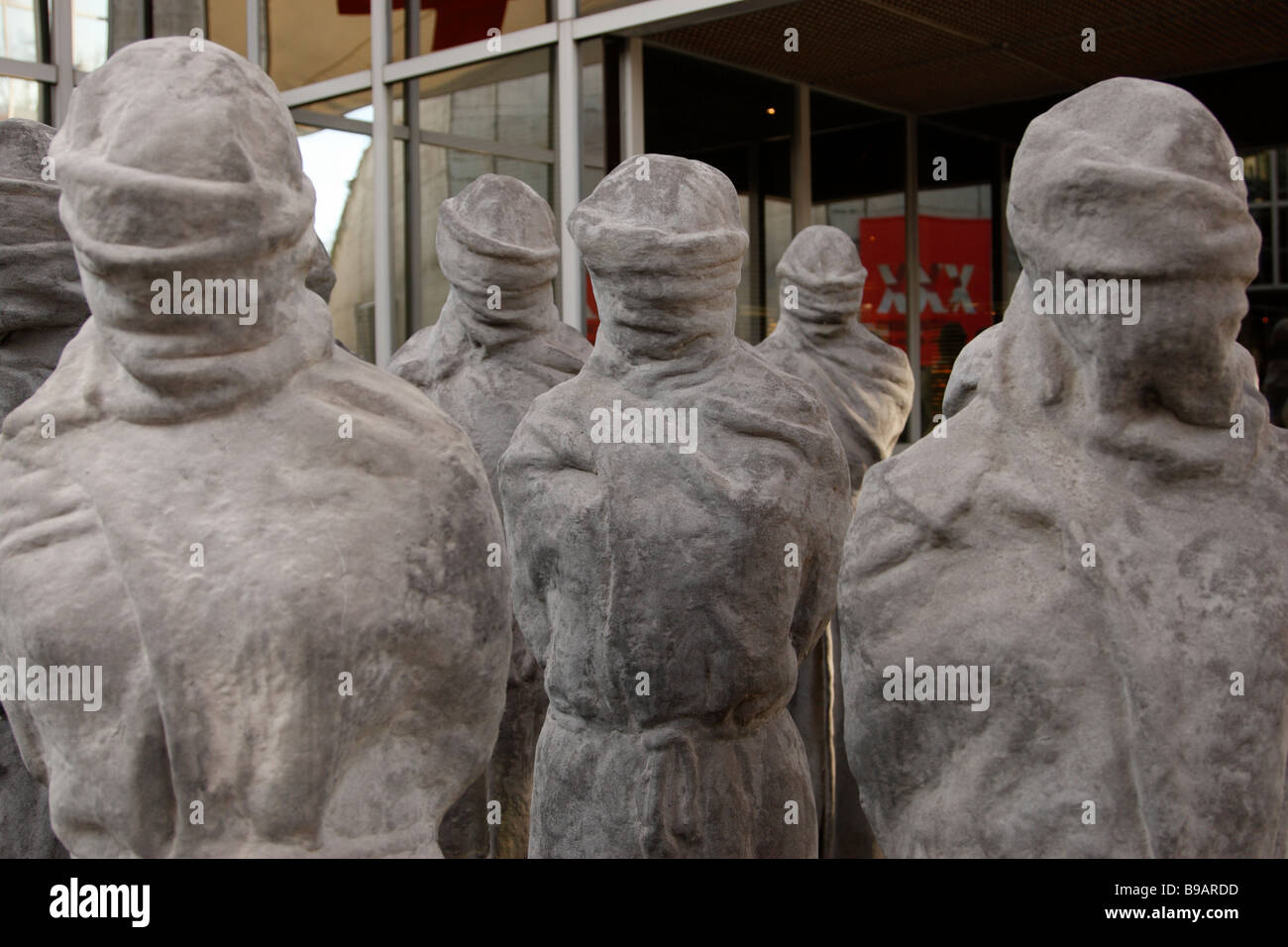 artwork against the violation of human rights & appeals for tolerance at the entrance of red cross & red crescent museum geneva Stock Photo