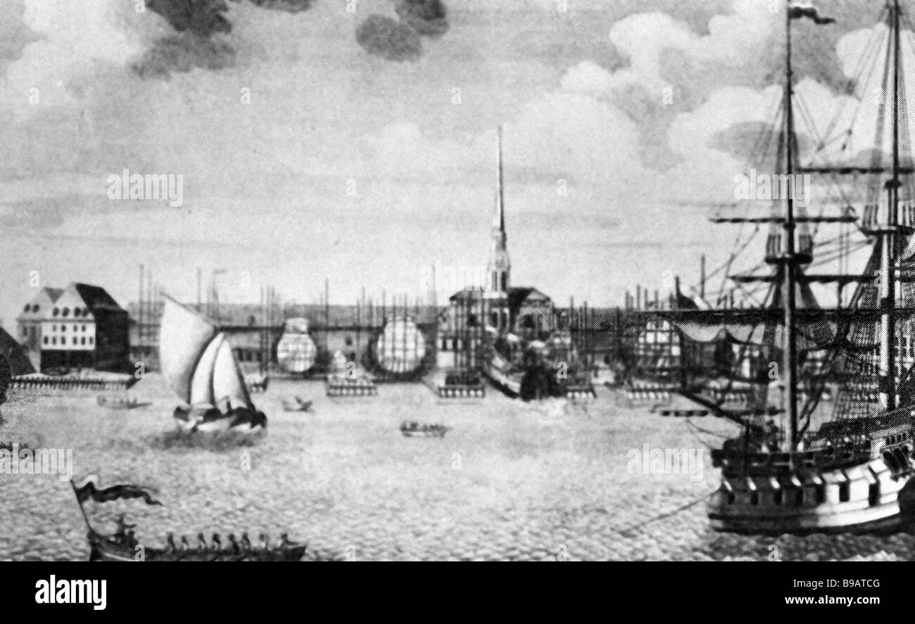 A Panorama of St Petersburg Illustration to The Diplomacy of Peter the Great book published in the 18th century - Stock Image