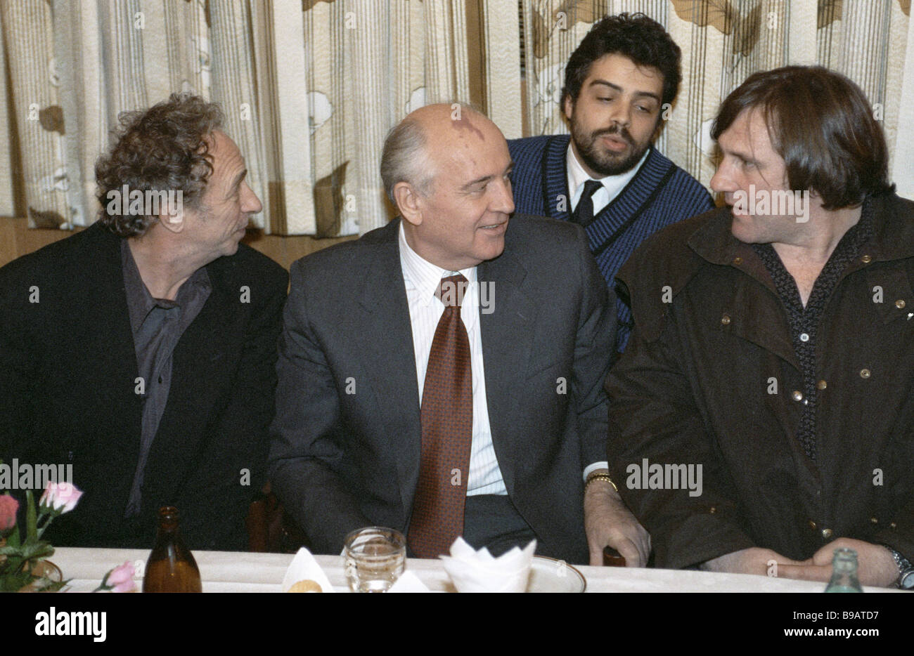 Former Soviet President Mikhail Gorbachev centre with French actors Pierre Richard left and Gerard Depardieu right - Stock Image