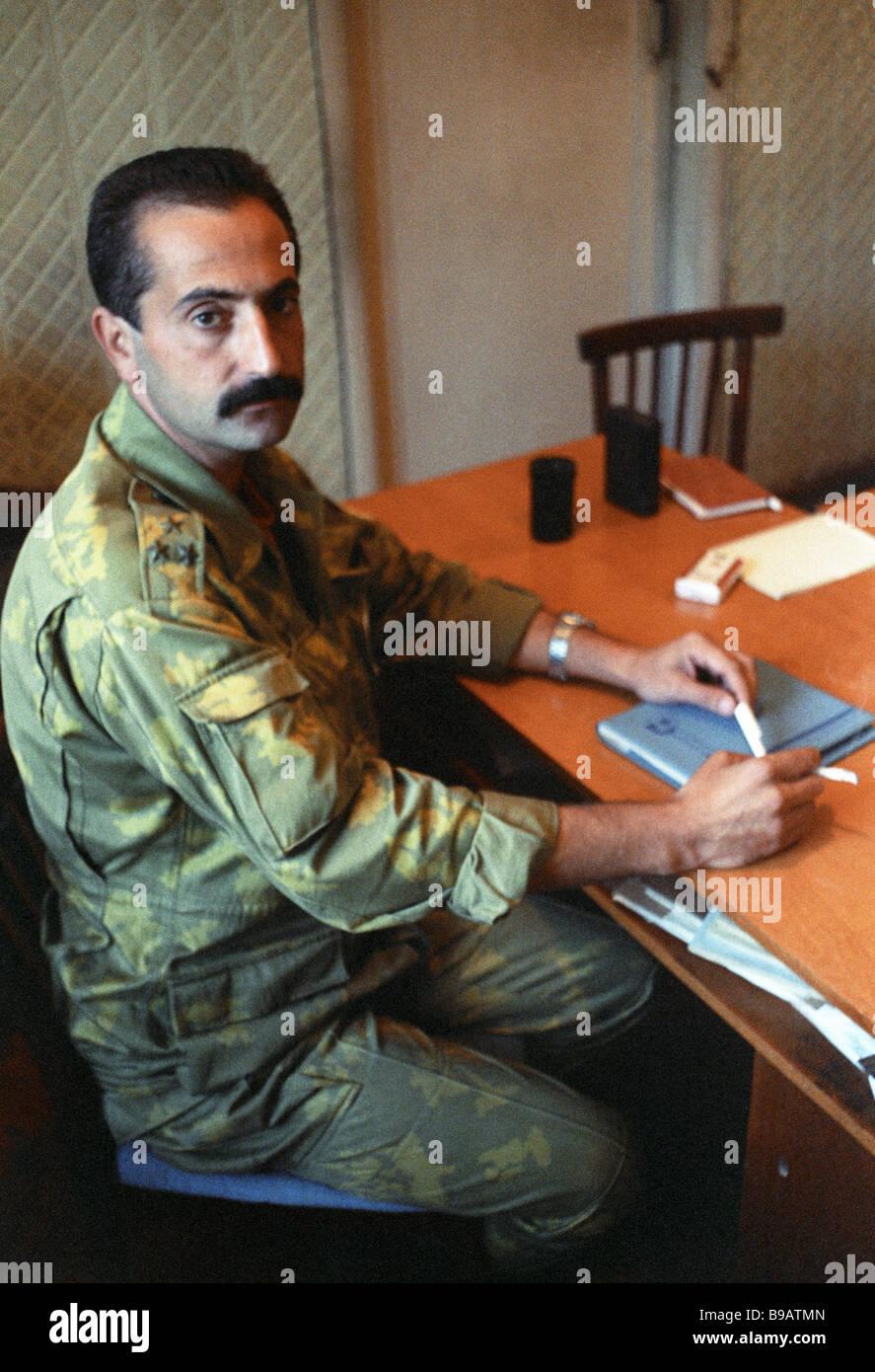 Colonel Vladimir Archba militia commander in the Gudauty district - Stock Image