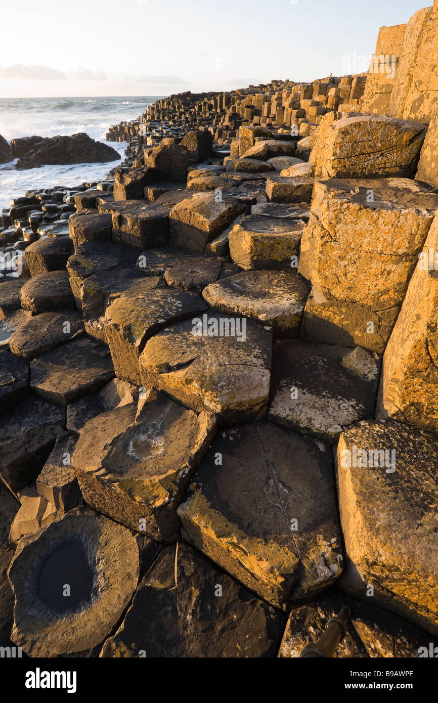 Giant's Steps Vertical. The basalt pillars of the Giant's Causeway glow in the sun as they step down into - Stock Image